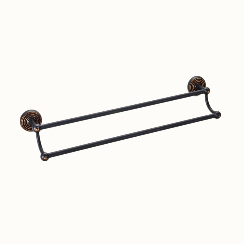 цена на All Copper Antique Bathroom hardware Black Double Towel Bar Wall-mounted Towel Rack Holder Polished Hardware Products