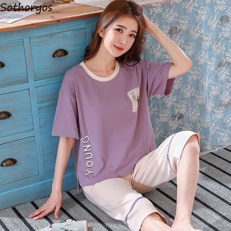 Pajama Sets Women Summer New 2020 Korean Style Loose Leisure Trendy Students Womens Clothing Home Simple Daily Soft Breathable