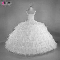 6 обручи 6 слоев бальное платье юбки нижняя кринолин белый большой рюшами свадебные аксессуары тюль нижние