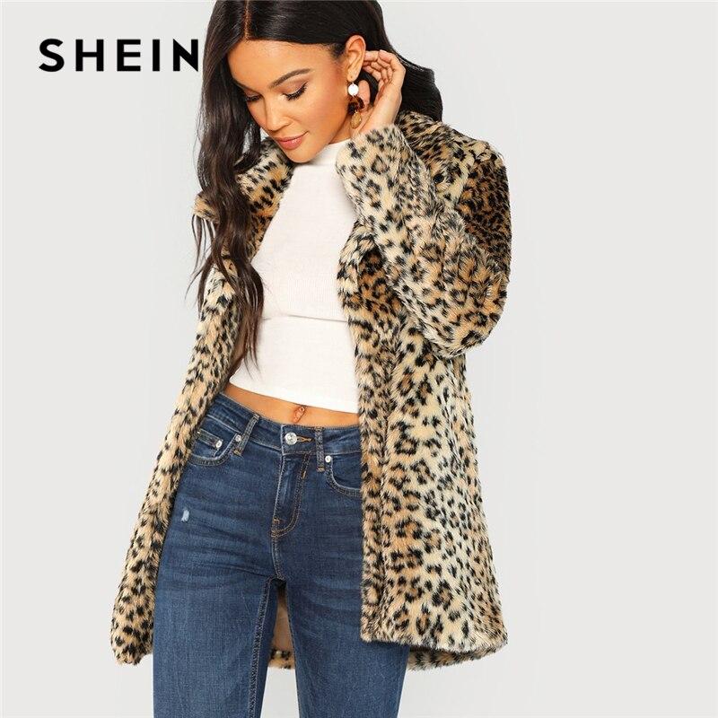 Шеин Многоцветный элегантный Highstreet леопардовым принтом Стенд воротник Нечеткой Пальто осень 2018 г. офисные женские туфли для женщин пальт