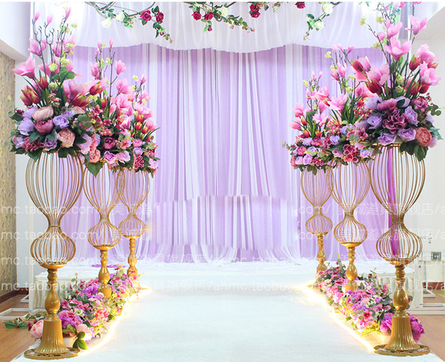 90cm Tall Metal Wedding Road Leads Flower Stand Aisle Decor
