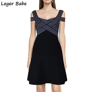 LEGER BABE designer women knee length strap bandage dress 190ab84e3807