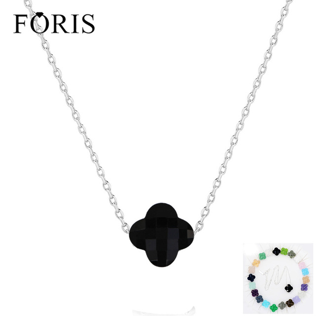 FORIS 11 Colors Brand Jewelry 925 Sterling Silver Luckly Clover Crystal Necklace For Women Christmas Gift  Best Selling PN001