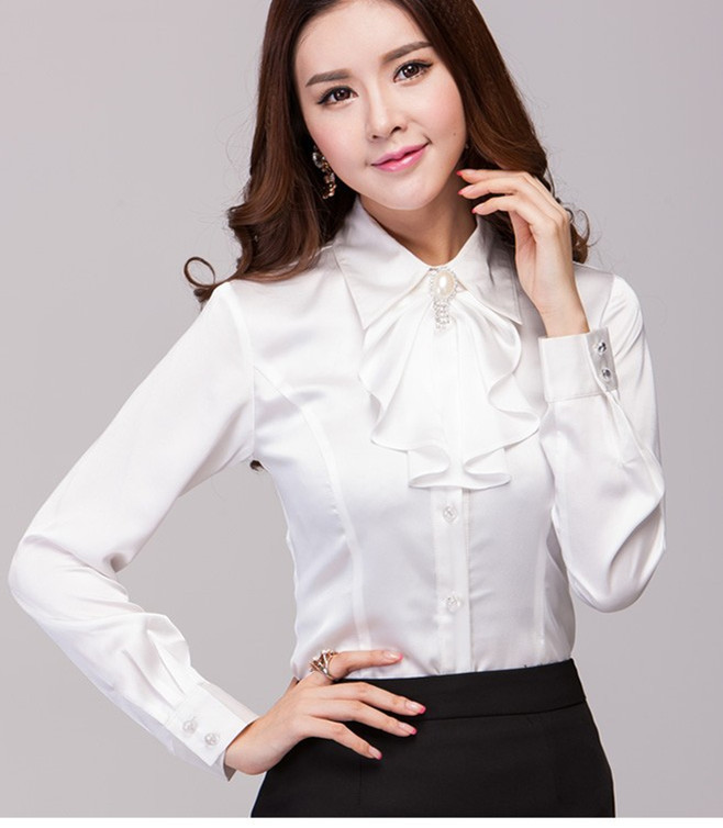 Aliexpress.com : Buy Red White Women Fashion Office Blouse Satin ...