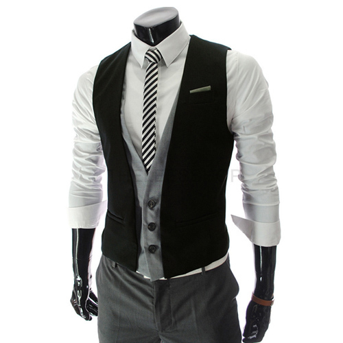 Undershirt New Arrival Time-limited V-neck Faux Satin Ma3 Jia3 Colete 2014 Faux Two Piece Men's Slim Vest Fashion Clothing Trend