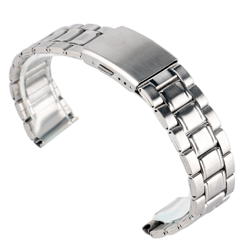 цена на 18mm 20mm Solid Link Men Stainless Steel Wrist Band Watch Strap Replacement Bracelet Silver Fold Over Clasp Push Button