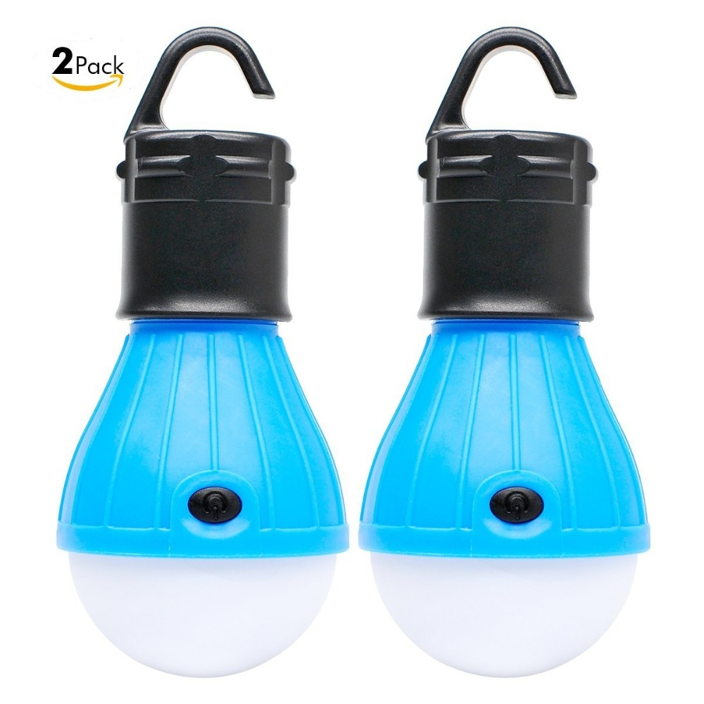 2 Packs Portable LED Lantern Tent Light Bulb for Camping Hiking Fishing Emergency Lights Battery Powered Lamp with 6 AAA Battery