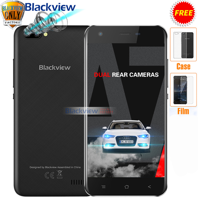 Original Blackview A7 Android 7.0 MTK6580A Quad Core 5.0 inch RAM 1GB ROM 8GB 3 Cameras 3G WCDMA 2800mAh Dual SIM Smartphone