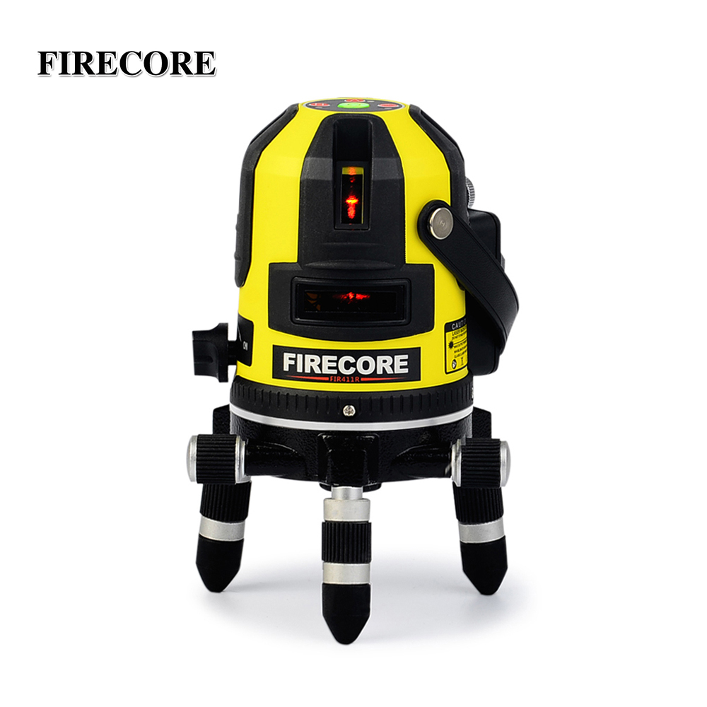 FIRECORE FIR411R 5 Lines Lithium Battery Red Laser Level Self Leveling 360 Horizontal And Vertical Outdoor