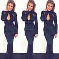 Mermaid High Neck Long Sleeves Kim Kardashian Red Carpet Black Celebrity Evening Gown Dresses