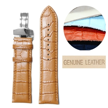 22mm Stylish Tan Black Brown Best Genuine Leather Unisex Watch Band Straps WB1037-22GB
