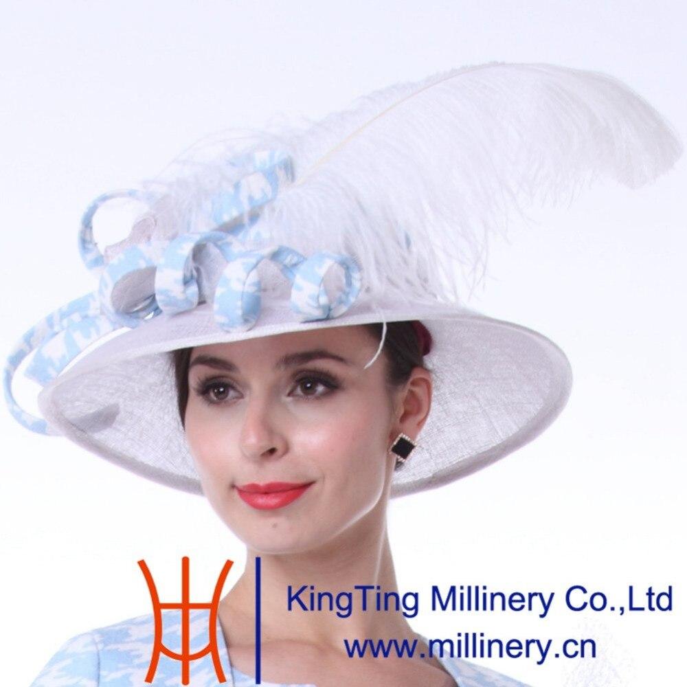 Kueeni mujeres sombreros de plumas para las damas blanco jpg 1000x1000  Blanco sombreros de damas da77afc0493