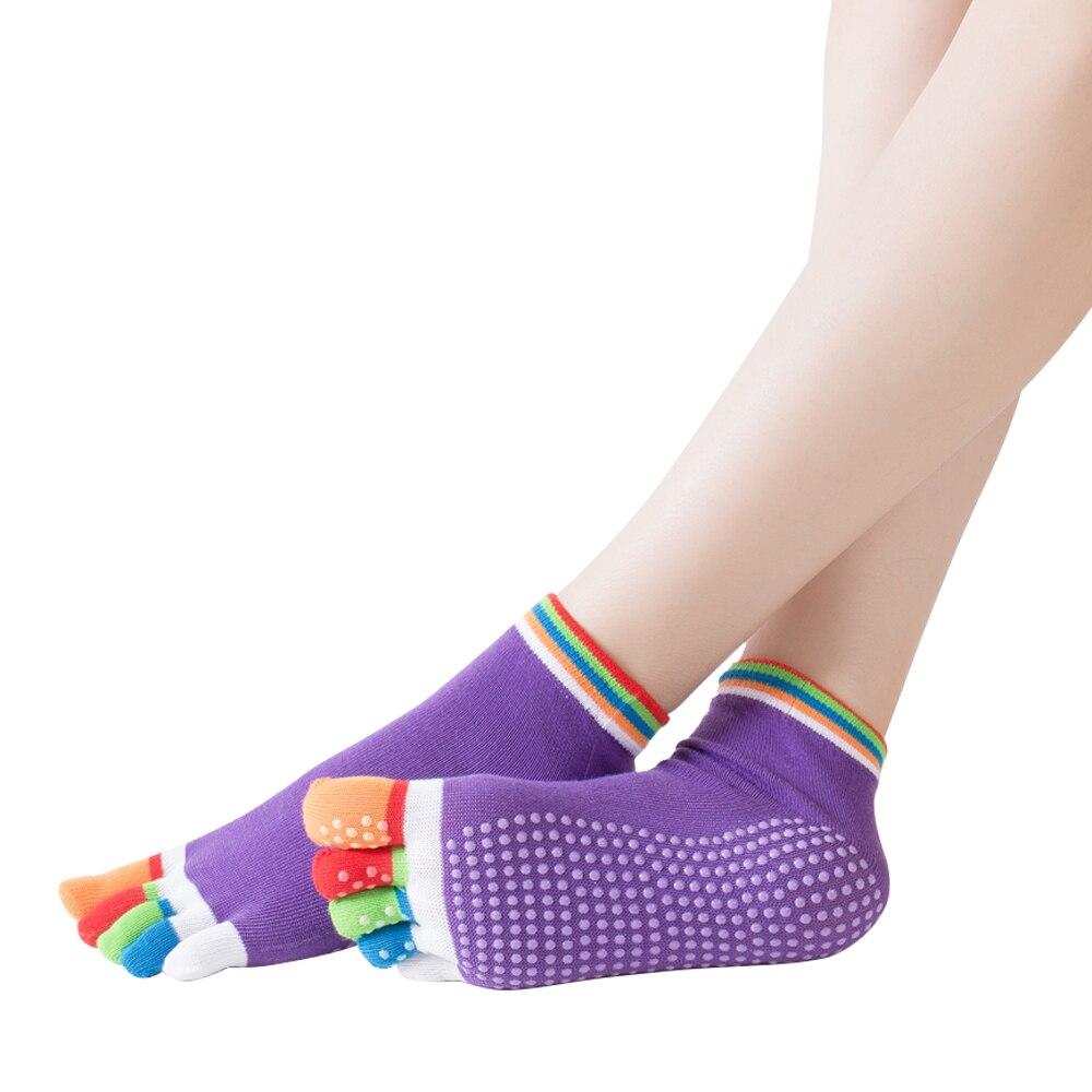 Women Yoga Socks Pilates Massage 5 Toes Socks Sport Grip Gym Anti-slip Socks New