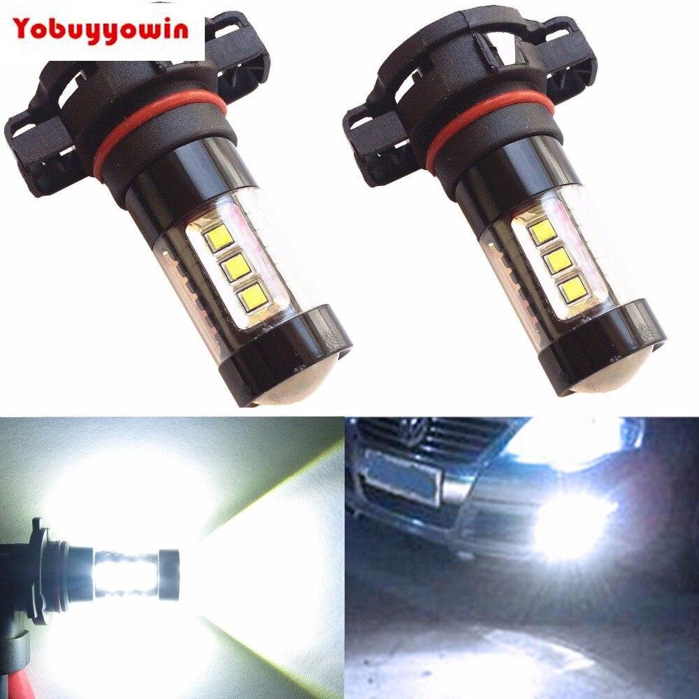H16 светодиодный туман светильник лампы 80W 780lm DC12-24V Cree чипы H16 5202 Противотуманные фары светильник комплект светодиодный светильник ing для авто...