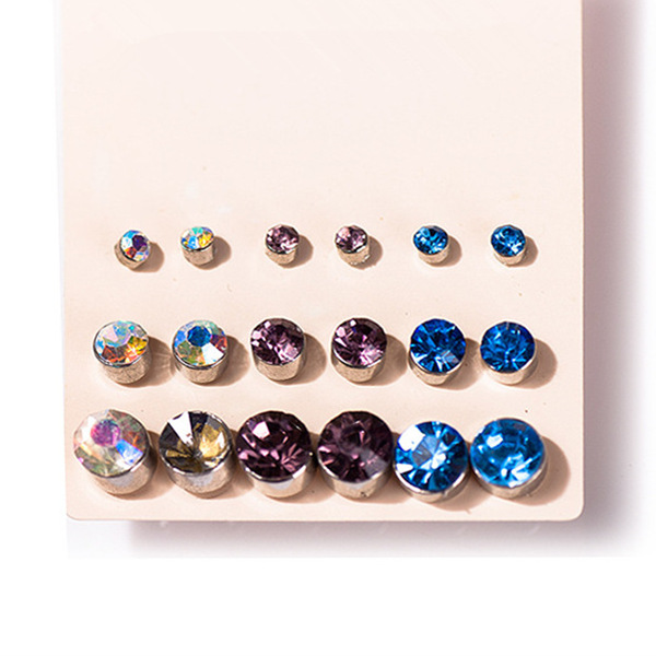Claire Fashion Accessories Stud Earring Pack Set 9 Pairs Cubic Zircon Crystal Sutd 5 13mm Gift For Women Broncos In Earrings From Jewelry