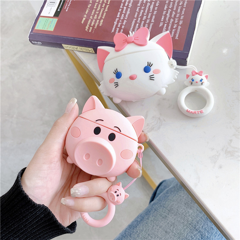 For AirPods Case Cute Cartoon Lovely Pig Cat Soft Silicone Wireless Bluetooth Earphone Cases For Apple Airpods 2 Cover Funda