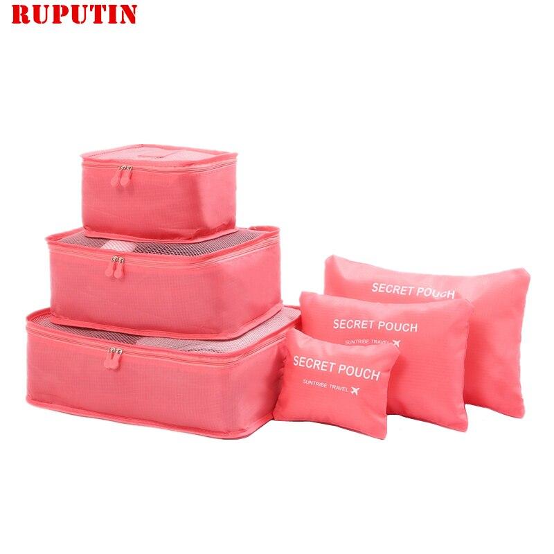 RUPUTIN Novo 6 pçs/set Alta Qualidade Ms Malha Saco De Viagem Em Saco de Pano de Oxford Organizador Bagagem Embalagem Cube Organizador para Roupas