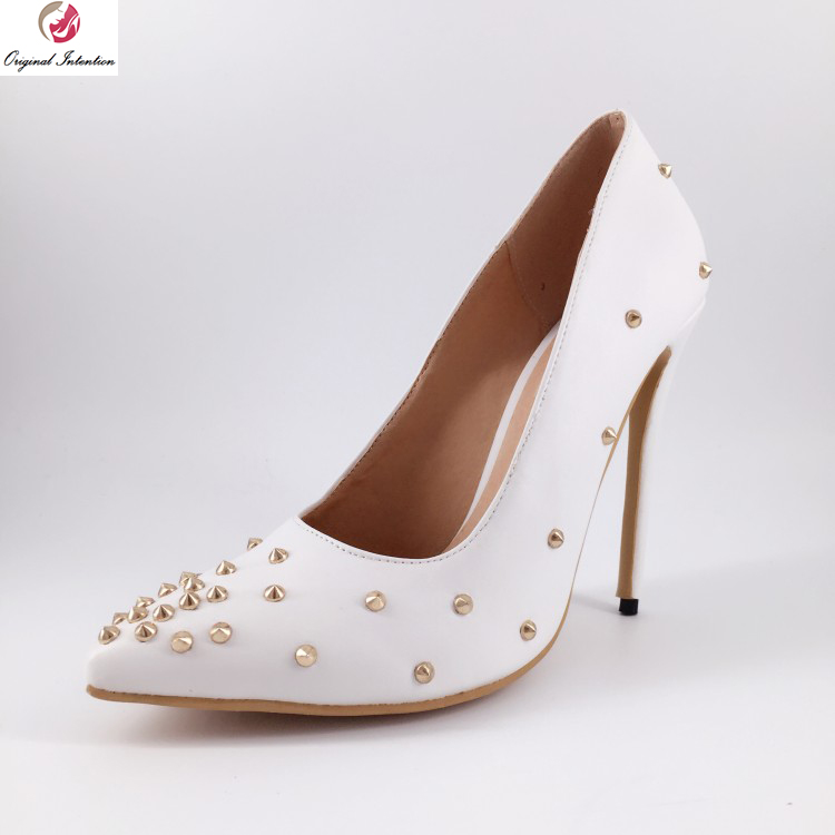Original Intention New Stylish Women Pumps Fashion Rivets Pointed Toe Thin High Heel Pumps White Shoes Woman Plus US Size 4-15 plus big size 34 47 shoes woman 2017 new arrival wedding ladies high heel fashion sweet dress pointed toe women pumps a 3