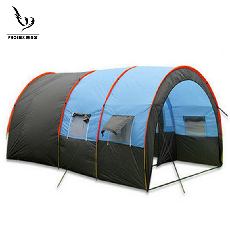 Tentes camping extérieur grande tente de Camping toile imperméable fiber de verre 5 8 personnes Tunnel familial 10 personnes tentes équipement extérieur