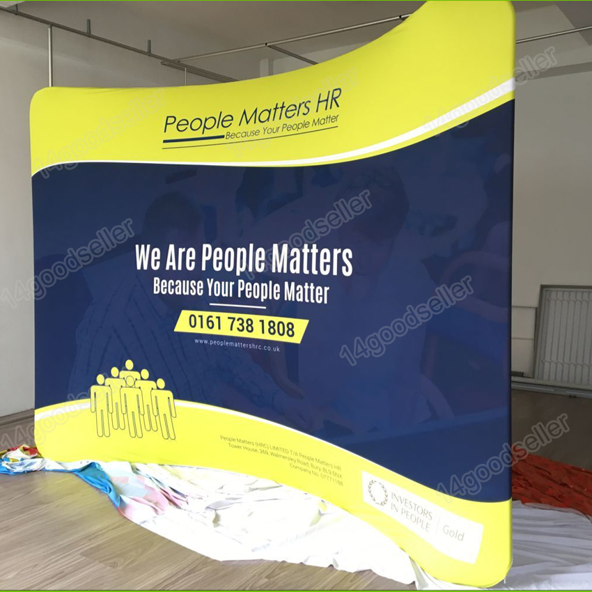 Trade Show Booth Banners : Ft curved fabric tension pop up banner trade show