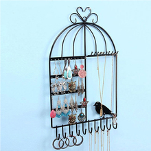 Metal Necklace Jewelry Display Stand Earrings Organizer Hanging Rack Earrings Bracelet Holder Shelf Iron Wall-Mounted Vintage