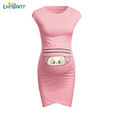 LONSANT платья для беременных без рукавов с мультяшным принтом милые однотонные платья для беременных удобное облегающее платье для беременных женская одежда