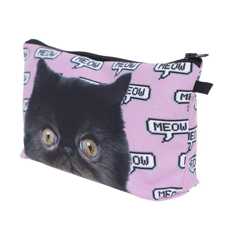 Under Nineteen 2017 Cute Kawaii Cat Cosmetic Bags Neceser Travel Makeup Bags Large Capacity Toiletry Wash Bath Organizer Pouch