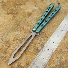 Butterfly Trainer Knife BM51 V3 D2 Blade Titanium Handle Jilt Knife Not Sharp Hunting Knife Folding Pocket Knife цена