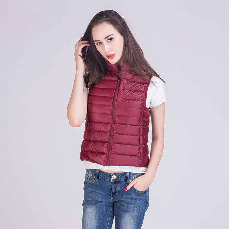 [Aiweier] Autumn Winter Jacket Women Lightweight   Down   Jackets Short Vest Zipper Slim Korean Style   Down     Coats   For Female AL1101