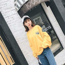 Yellow coat  bat sleeve sweater big letter style B-boy B-girl suit Trendy clothes