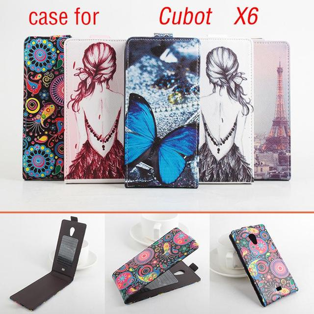 HongBaiwei Fashion Leather Cases For Cubot X6 Butterfly Flower Tower Pattern Phone Case Cover