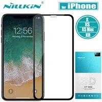 대 한 iPhone X XS Max 강화 (gorilla Glass) Screen Protector Nillkin 3D CP + MAX 풀 Cover (gorilla Glass) 보호 막 대 한 apple iPhone X XS XR