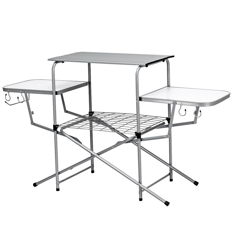 US $97.4 45% OFF|Foldable Camping Outdoor Kitchen Grilling Stand BBQ Table  Powder coated Steel Frame Construction Lightweight Stand-in Outdoor Tables  ...