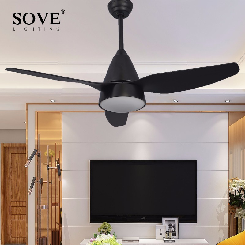 Sove Modern LED Black Ceiling Fans With Lights Dining Room Living White Fan
