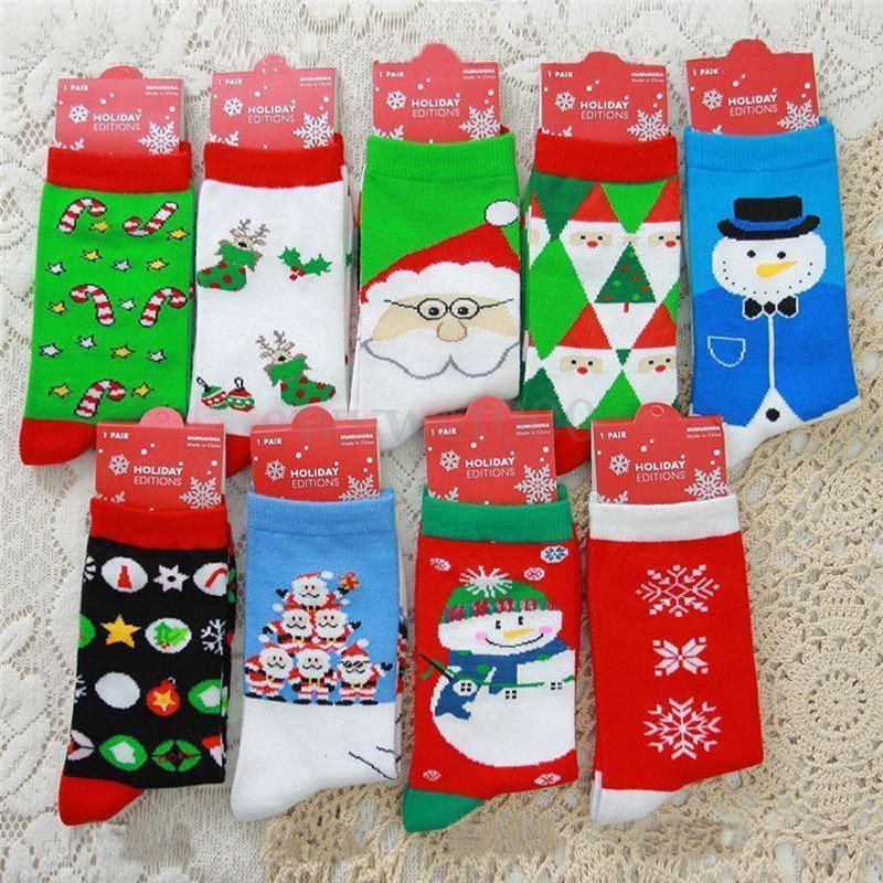 Christmas Mens/&Womens Xmas Cotton Socks Santa Snowman Snowflake Socks Gifts