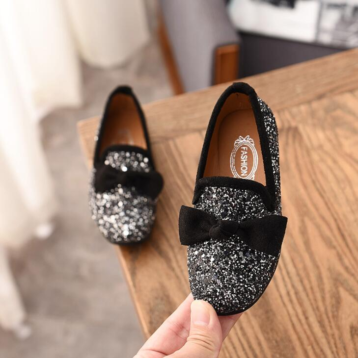 Girls Princess Bow Shoes Fashion Sequins Glitter Leather Kids Flats ... 80282cd2e24e