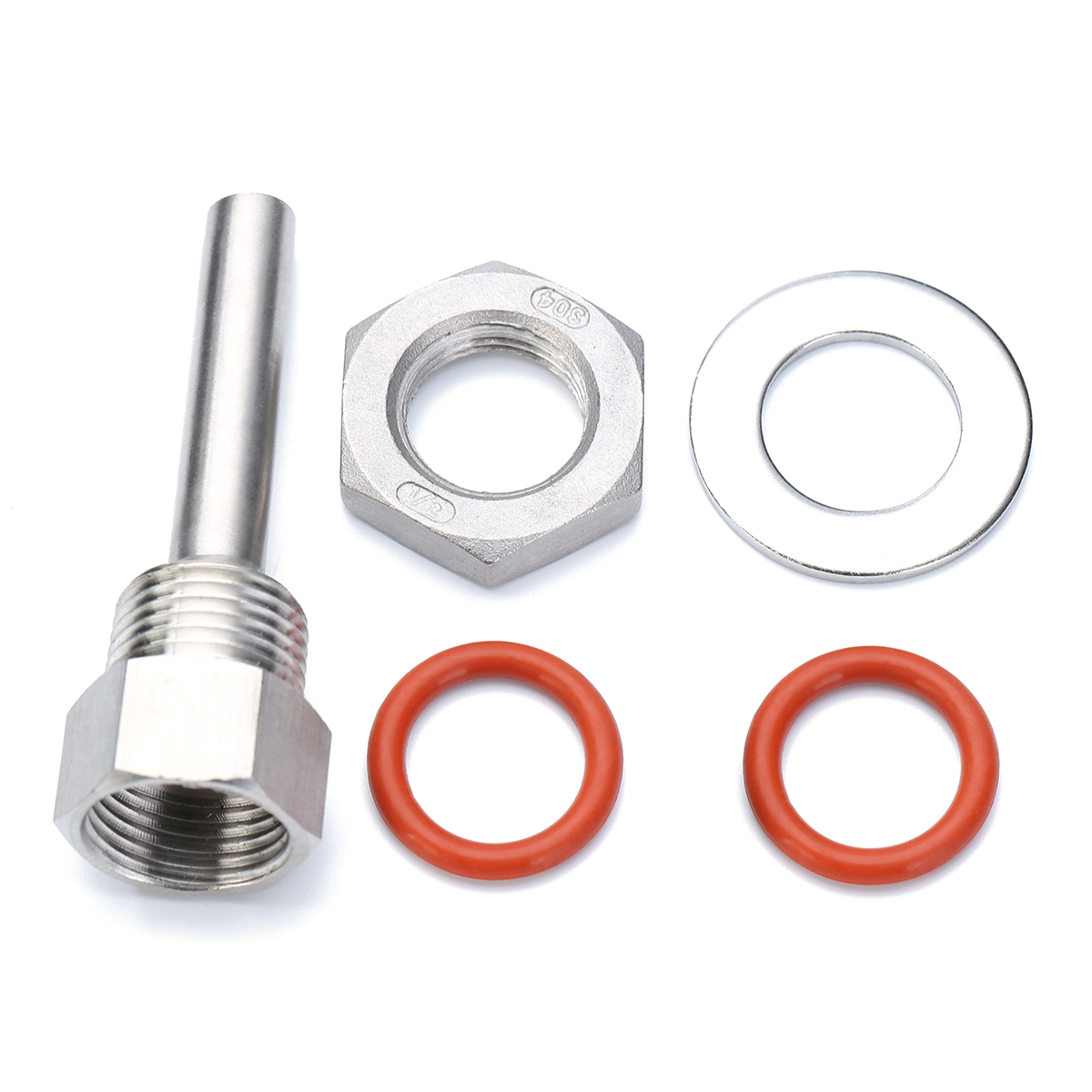 "Mayitr 2.5""/4"" Stainless Steel Thermowells Kit with 1/2"" NPT Lock Nut Weldless Fittings Washer For Home Brew DIY Tools"
