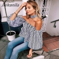 Jiekanila Women's new striped collar lantern sleeves shirt female OL office workers clothing sexy chiffon shirt Women's Blouses