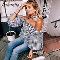 Jiekanila mujeres oficina de nueva linterna mangas de cuello de rayas camisa femenina ol trabajadores clothing sexy camisa de la gasa de las mujeres blusas