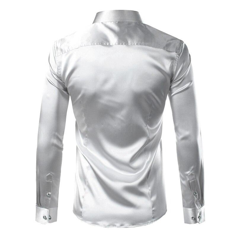 Silk Shirt Men 2017 Satin Smooth Men Solid Tuxedo Shirt Business Chemise Homme Casual Slim Fit Shiny Gold Wedding Dress Shirts 4
