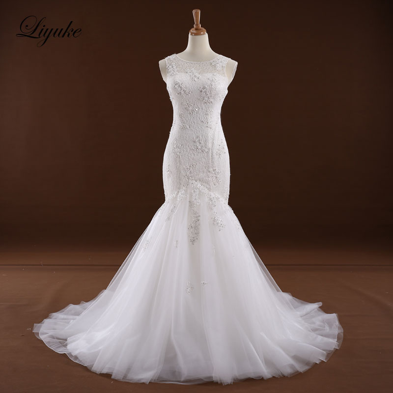 Elegant Scalloped Halsband Mermaid Bröllopsklänning Naturlig Midja Vanlig Remsor Dragkedja Bride Dress Liyuke