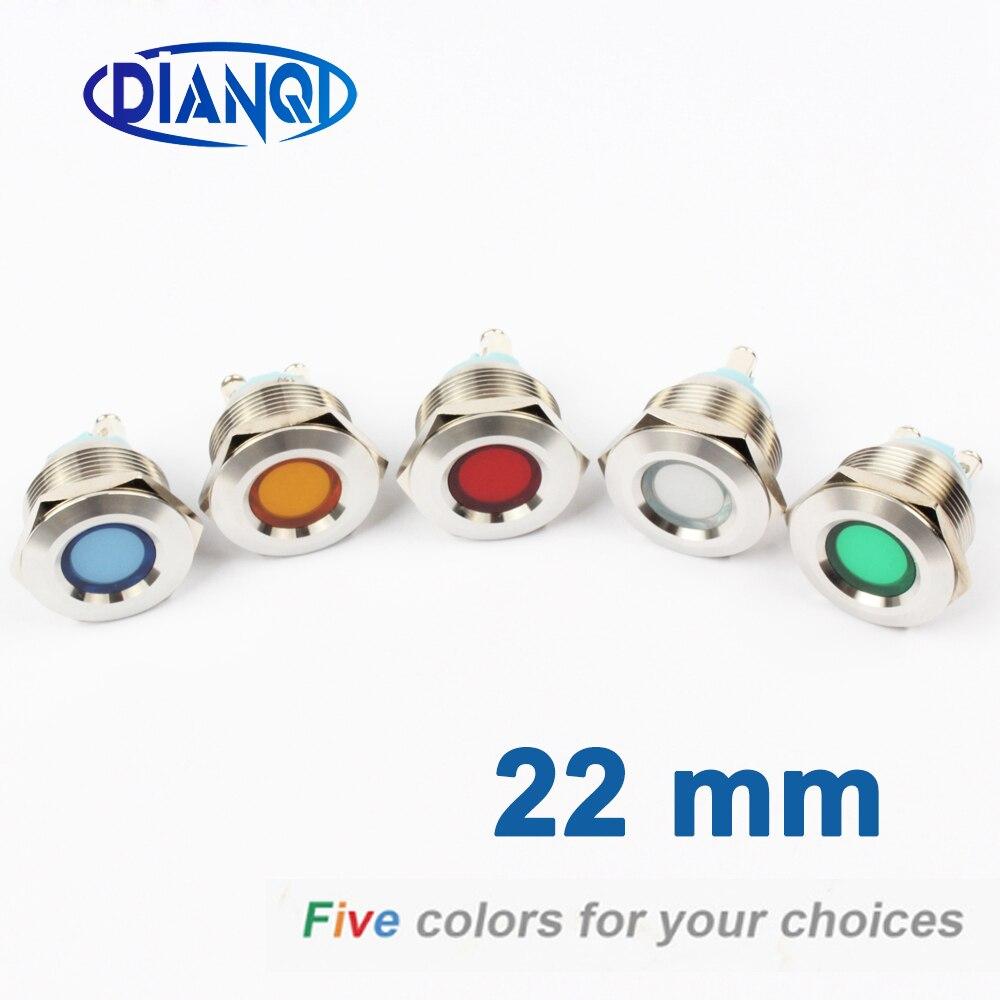 LED Metal Indicator Light 22mm Concave Round Signal Lamp LIGHT 3V 6V 12V 24V 220v Screw  Red Yellow Blue White 22ZSD.A.L