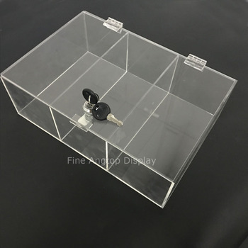 Clear Lockable Acrylic 3 Grids Display Box Jewelry Gifts Showcase With Hinged Lid