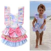 2018 Bebek Dünyaya Giysileri Kızlar Prenses Elbise Romper Bebek Kolsuz Dantel Yaz Giyim Çocuk Tulum Tulumları Bebek Tulum