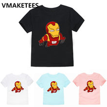 Iron Man Cartoon Print T shirt Kids Marvel Avengers Funny Clothes Children Summer Short Sleeve Baby T-shirt,HKP5279A(China)