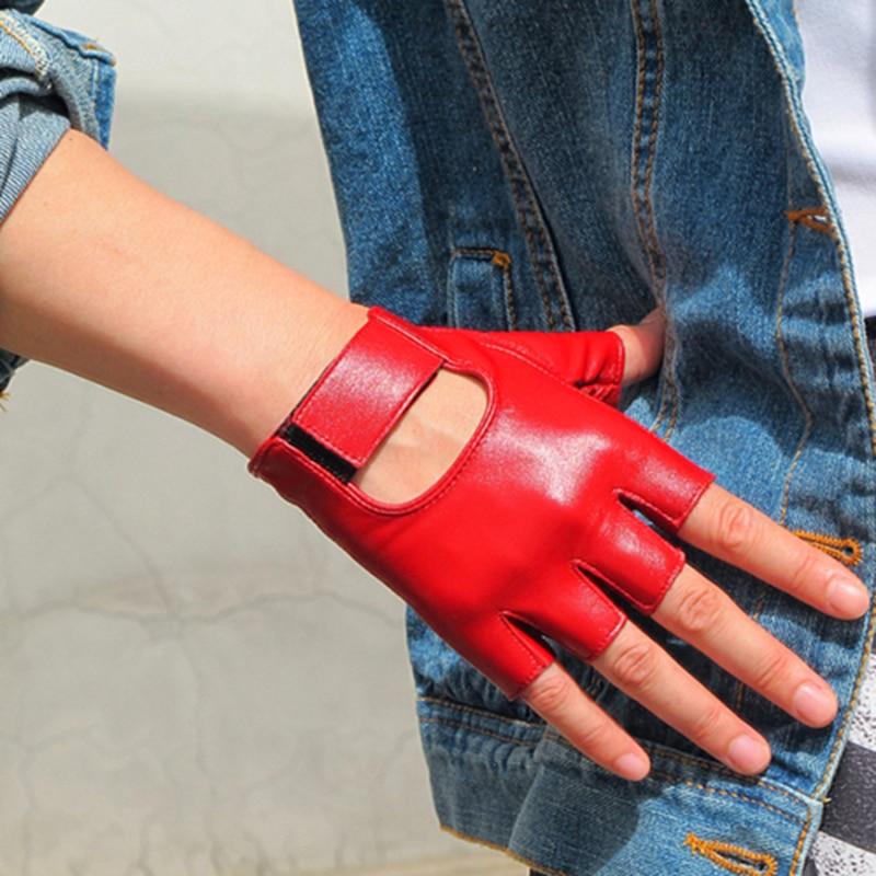 Women's Half Finger Real Leather Gloves Pure Sheepskin Brown White Red Fingerless Women's Gloves TB10