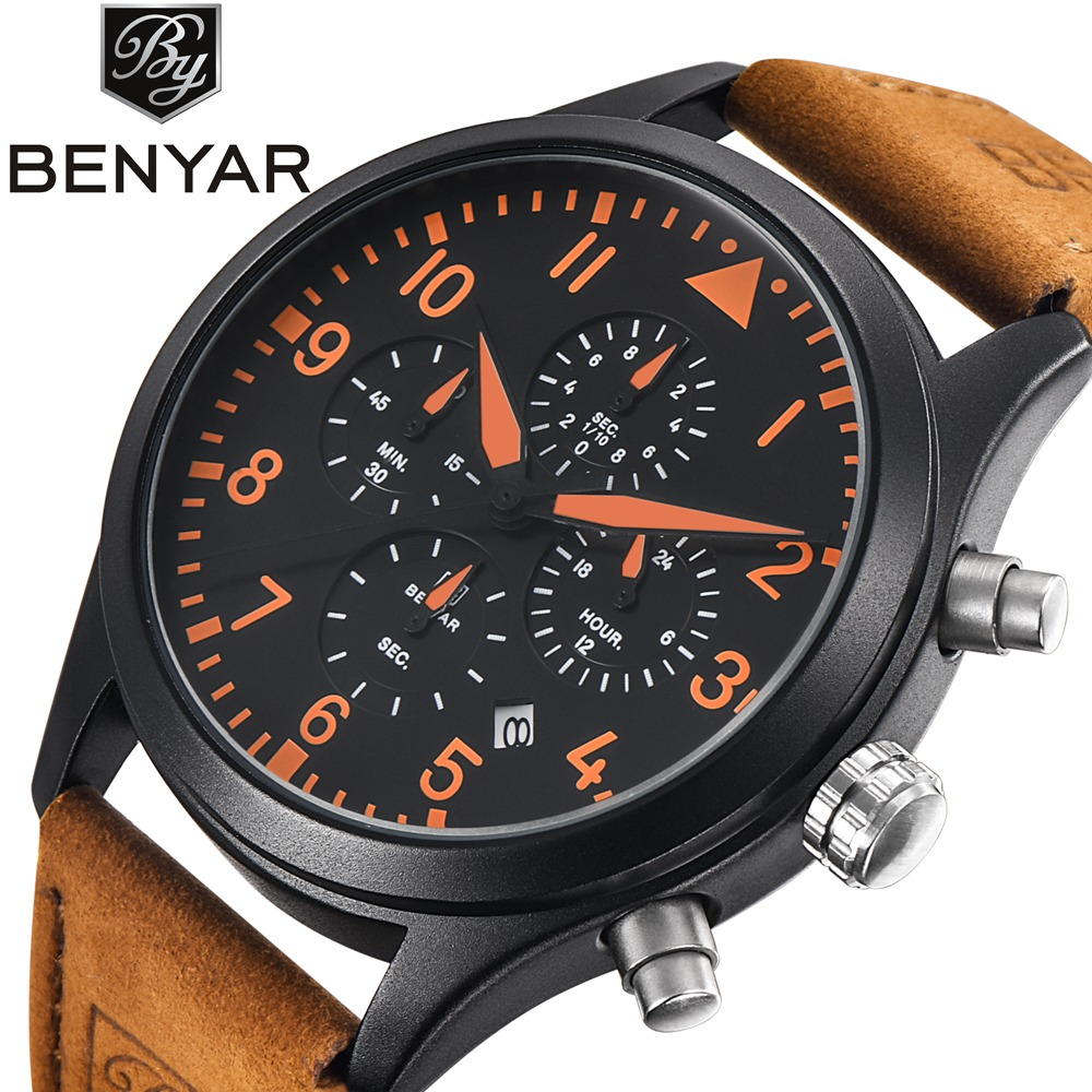BENYAR Mens Watches Top Brand Luxury Leather Chronograph Sport Watch Men Waterproof Quartz Military Men Wrist Watch Male Clock mens watches top brand luxury cadisen military sport quartz chronograph watch men waterproof full stainless steel wrist watch