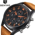 BENYAR Mens Watches Top Brand Luxury Leather Chronograph Sport Watch Men Waterproof Quartz Military Men Wrist Watch Male Clock