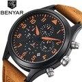 Benyar mens relojes de lujo superior de cuero del deporte del cronógrafo reloj de los hombres militar hombres reloj de cuarzo resistente al agua reloj masculino
