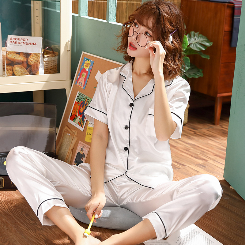Short Sleeve Silk Pajamas Spring Women Summer Pajama Sets Silk Pijama Sleepwear Pyjamas Plus Size 3XL 4XL 5XL 85kg Nightwear Set